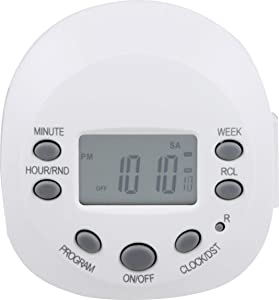 GE 7-Day Programmable Digital Timer, 1 Outlet Grounded, Plug-In Indoor, LED, CFL, Incandescent, Ideal for Lamps, Portable Fans, Seasonal Lighting, Appliances, 15150