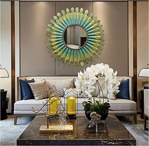 Amazon Com Large Peacock Sunburst Wall Mirror For Living Room Large Round Mirror Decorative Wall Mountable Shabby Chic Home Decor Wall Mirrors For Hallway Home Kitchen
