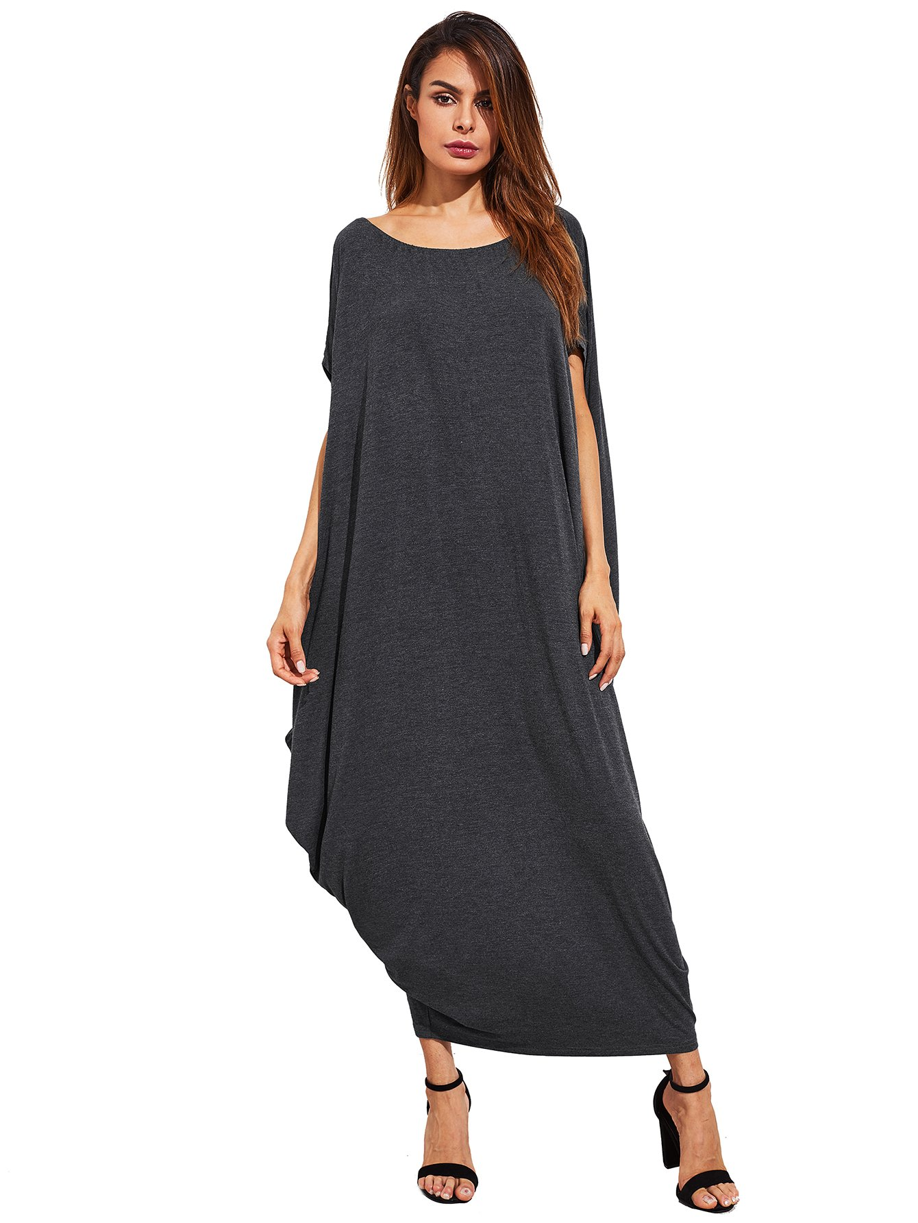988caae3031 Galleon - Verdusa Women s Boho One Off Shoulder Caftan Sleeve Harem Maxi  Dress Dark Grey M