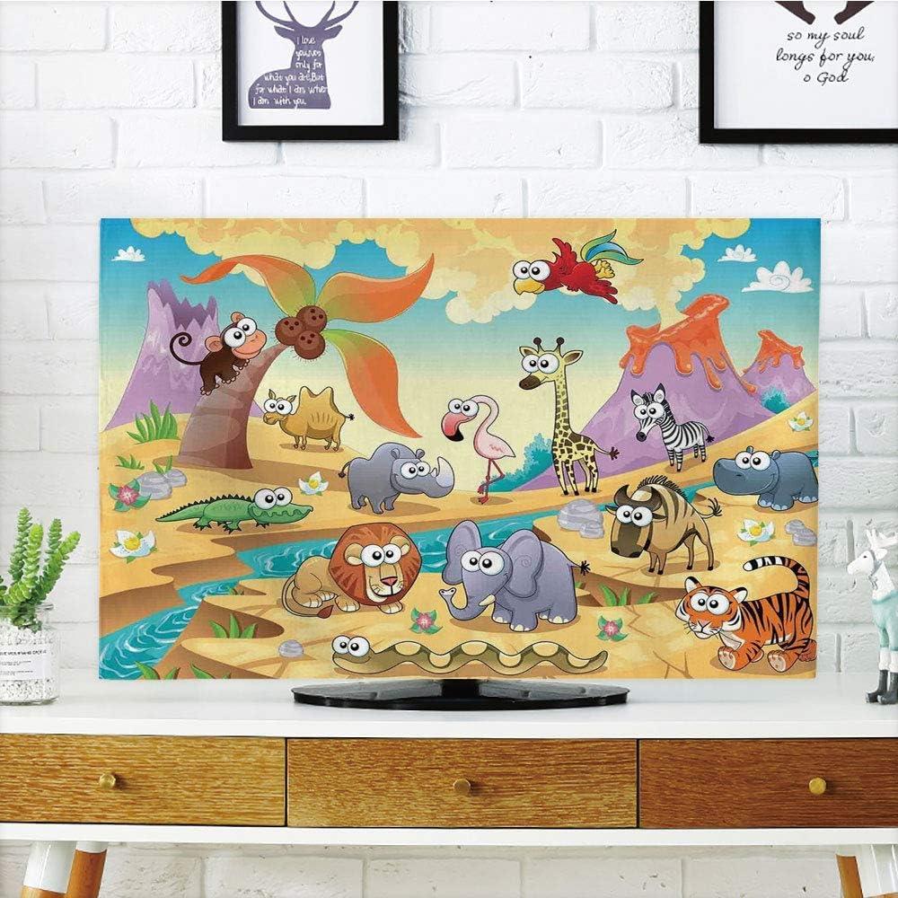 PenGTU - Funda para televisor LCD de alta durabilidad, decoración de caricaturas, familia de animales de Savannah con volcanes, mamíferos, bestias naturales, diseño de dibujos animados, multicolor, compatible con televisores de 60