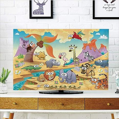 PenGTU - Funda para televisor LCD de alta durabilidad, decoración de caricaturas, familia de animales de Savannah
