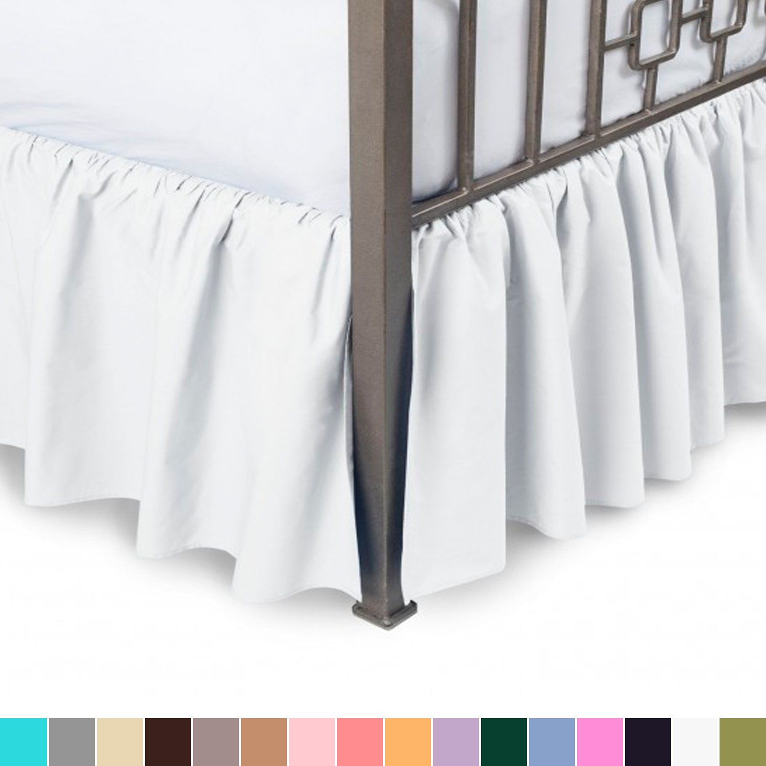Harmony Lane Ruffled Bed Skirt with Split Corners - Twin, White, 21 Inch Drop Bedskirt (Available in All Sizes and 16 Colors)