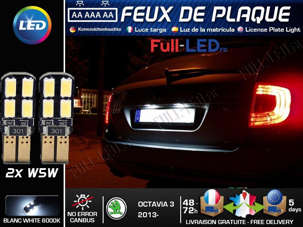 Pack Bombillas LED iluminación placa para Skoda Octavia 3: Amazon.es: Coche y moto