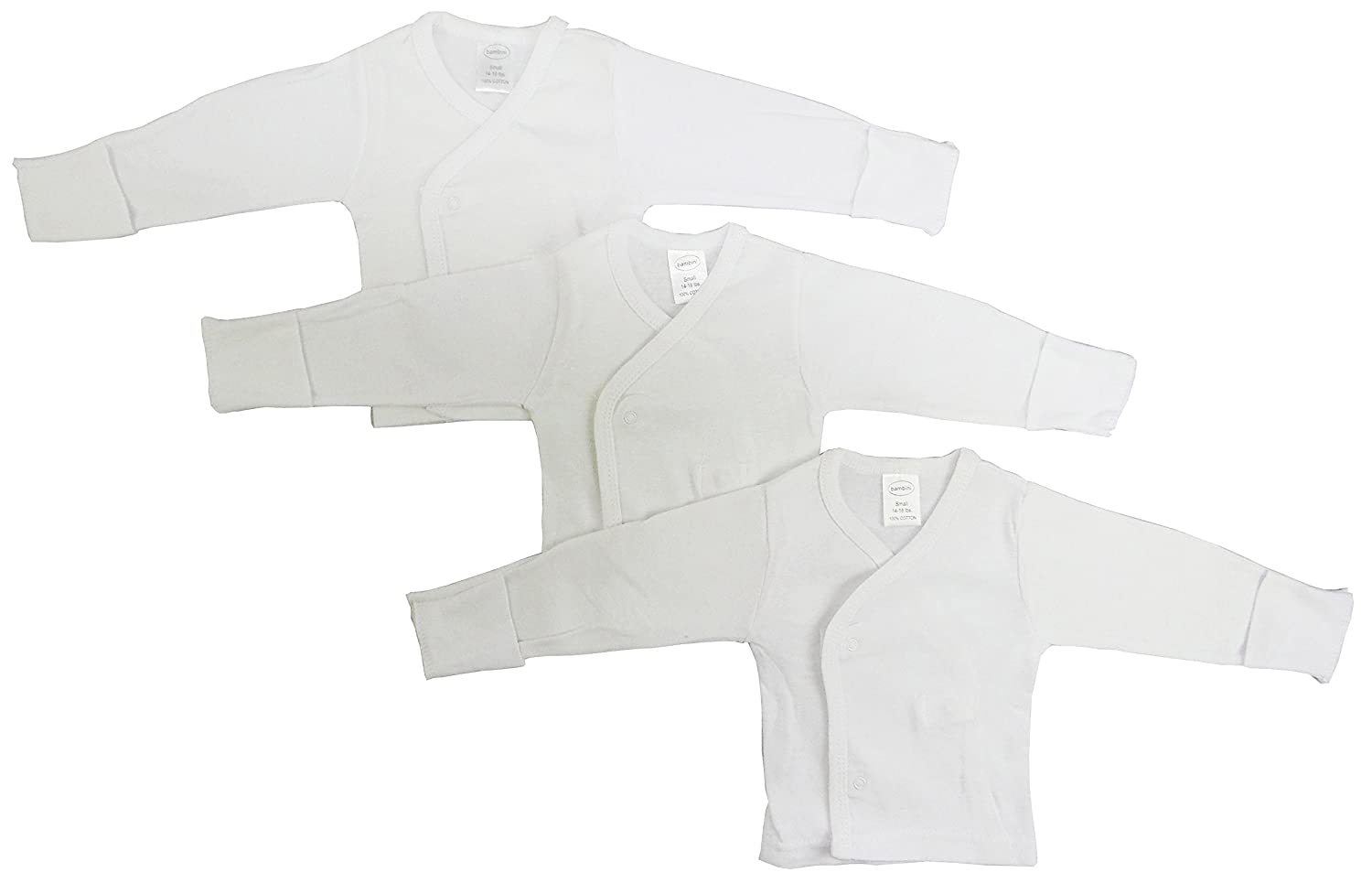 071S 3 Pack White Neutral Long Sleeve Side Snap with Mittens