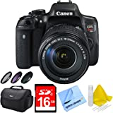 Canon EOS Rebel T6i Digital SLR Camera w/ 18-135mm STM Lens Bundle includes Camera, Lens, 58mm Deluxe Filter Kit, Gadget Bag, 16GB SDHC Memory Card, Lens Cleaning Kit and Beach Camera Cloth