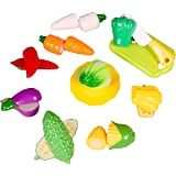 Toyshine Realistic Sliceable 9 Pcs Vegetable Cutting Play Toy Set, Can Be Cut in 2 Parts