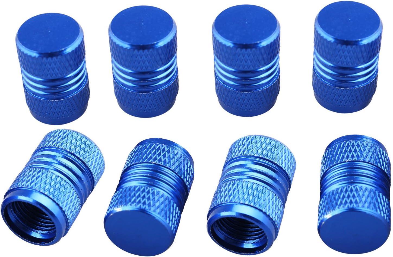 Futheda Staubschutzkappen Aus Aluminiumlegierung Für Autoreifen Universal Für Autos Metall Ventilkappen Autozubehör Blau 8 Stück Auto