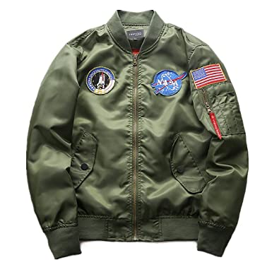 finest selection 14bcf da84a CHENM Herren NASA Motiv Stickerei Langarm Stepp Bomberjacke Flug Mantel