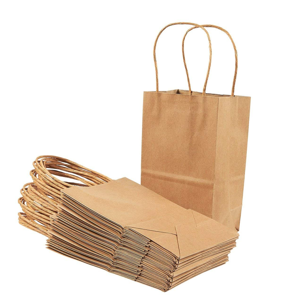 Amazon.com: Bolsas de papel kraft marrón con asas, ideales ...