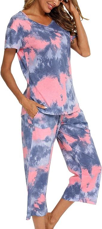 ENJOYNIGHT Womens Tie Dye Printed Sleepwear Capri Pajama Sets Loungewear for Women with Pockets