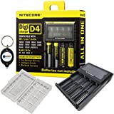 BUNDLE: Nitecore D4 Digi charger compatible with IMR LifePO4 Li-ion Ni-MH NiCd batteries (18650 26650 18490 18350 17670 17500 10440 16340 14500 AA AAA AAAA C) w/ 1x battery case and Lightjunction Keychain Light