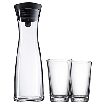 WMF Basic - Botella de agua de cristal, sistema Close Up, Con dos vasos, Negro, 1,0 litros: Amazon.es: Hogar