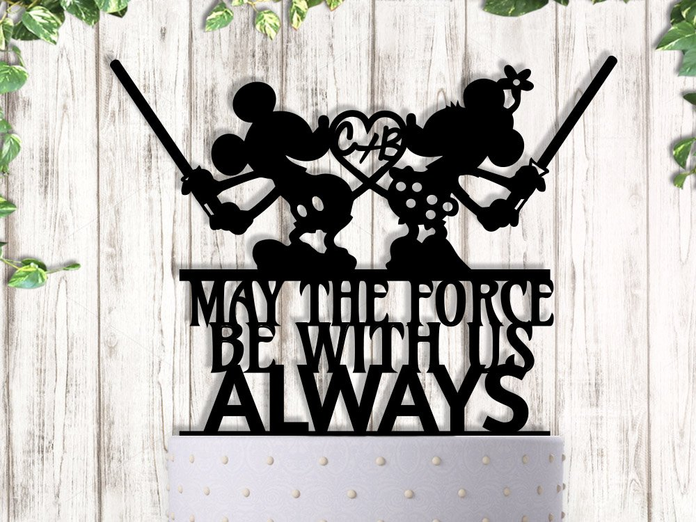Mickey and Minnie Jedi Wedding Cake Topper