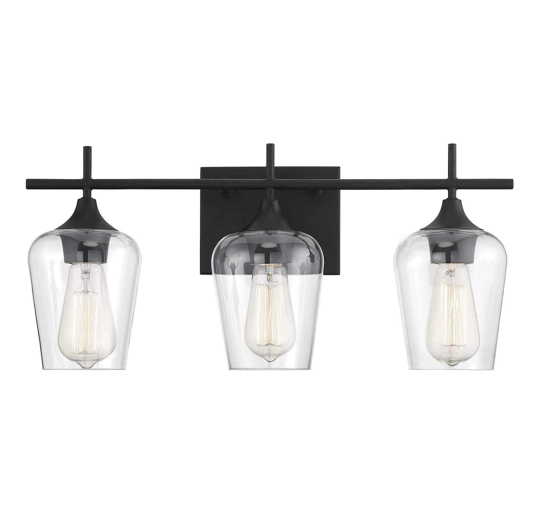 Savoy House 8-4030-3-BK Octave 3-Light Bathroom Vanity Light in a Black Finish with Clear Glass (21'' W x 9'' H)