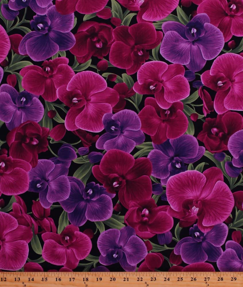 Cotton Orchids Exotic Flowers Floral Blossoms Blooms Gardens Gardening Phalaenopsis Pink Purple Cotton Fabric Print by The Yard (D758.24)
