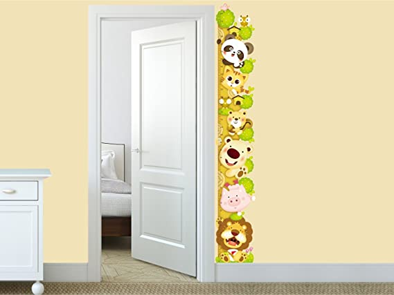 Amazon Brand - Solimo Wall Sticker for Kids Room (Animal Height Chart, ideal size on wall ,  27 cm X 172 cm),Multicolour
