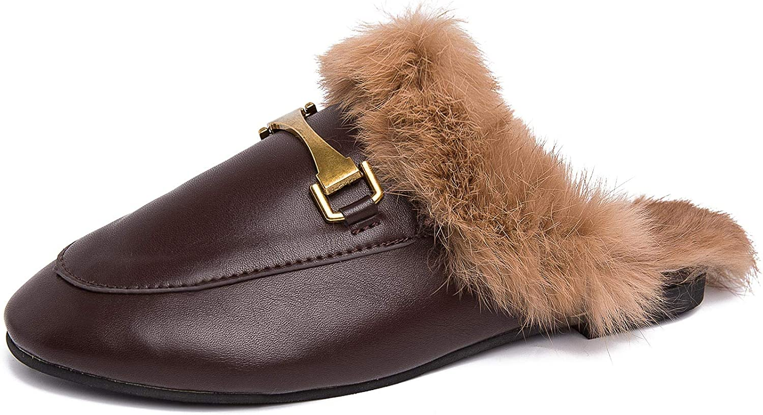 Knemksplanet Women's Mule Leather Slip On Fur Mules for Women Backless Flats Loafers Metal Decor Slippers Furry Slide Shoes