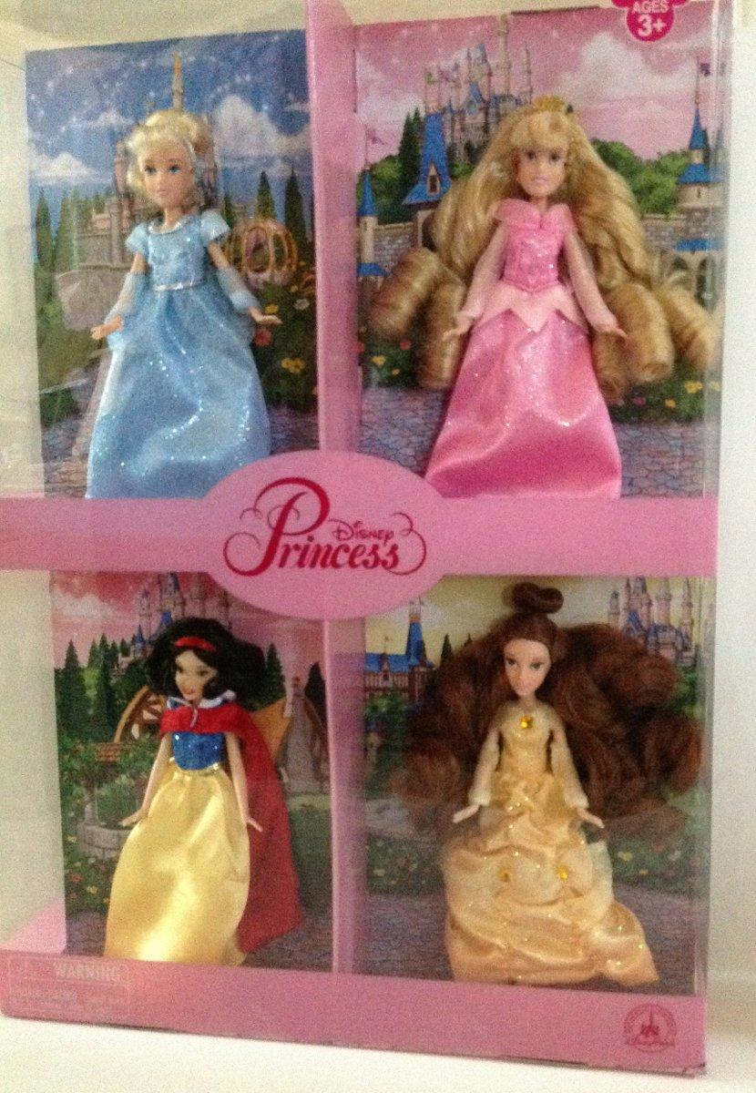 Disney Park Small Princess Doll Set of 4 Cinderella Aurora Belle Snow Weiß NEW