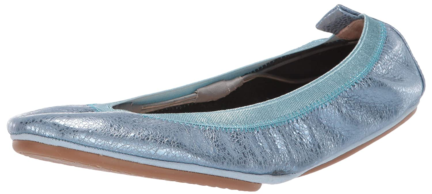 Light bluee Speckled Metallic Leather Yosi Samra Womens Samara-m Ballet Flat