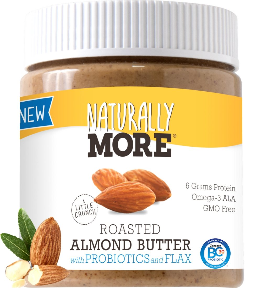 Naturally More Almond Butter - 100% All Natural Nut Butters- Finely Roasted - Probiotics - Heart Healthy - Flax - Gluten Free -Vegan - Peanut Free 12oz.