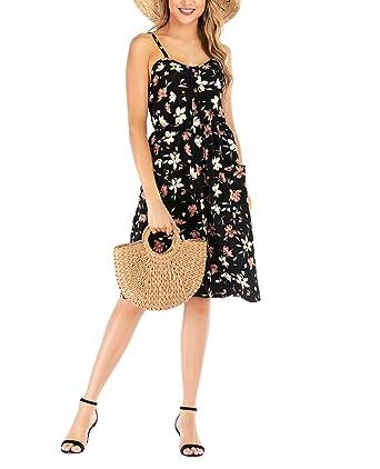 d0e9c43027 Womens Sexy Strappy Sleeveless Boho Flower Print Tanks Summer Beach Maxi  Swing Dress Clubwear Black S