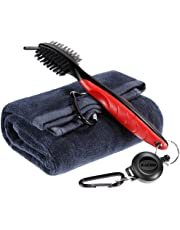 Zacro Golf Club Brush and Towel Kit,Golf Club Cleaner with Loop Clip for Hanging on Golf Bag, Golf Groove Cleaning Tool, Golf Ball Cleaner Set
