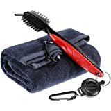 Zacro Golf Club Cleaning Brush Golf Club Cleaner with With Loop Clip (Carabiner) For Easy Hanging on Golf Bag - Ergonomic Design - Dual Sided Nylon and Wire Golf Accessories, Multi Tool as Groove Sharpener , Ball Cleaners , Golf Cleaning