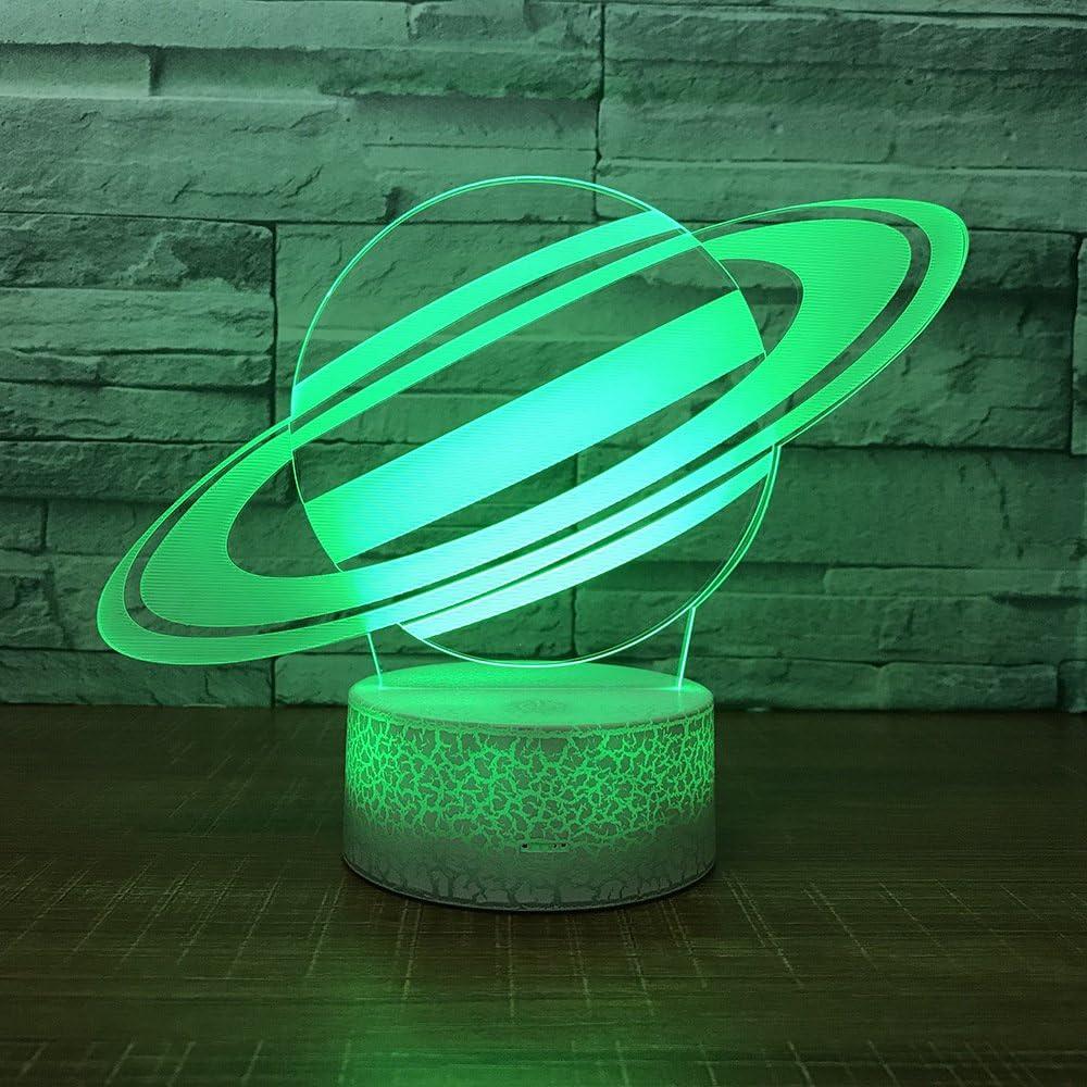 Cosmic Planet Lámpara de Mesa Illusion Lámpara de Mesa Cambio de Color Luz Nocturna Regalo para niños Base Blanca con Interruptor táctil