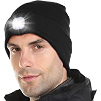 Tutuko Unisex LED Lighted Beanie Cap, USB Rechargeable Hands Free 4 LED Headlamp Cap, Warm Winter Knitted Hat with LED…