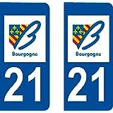 2 Stickers Autocollant style Plaque Immatriculation département 21