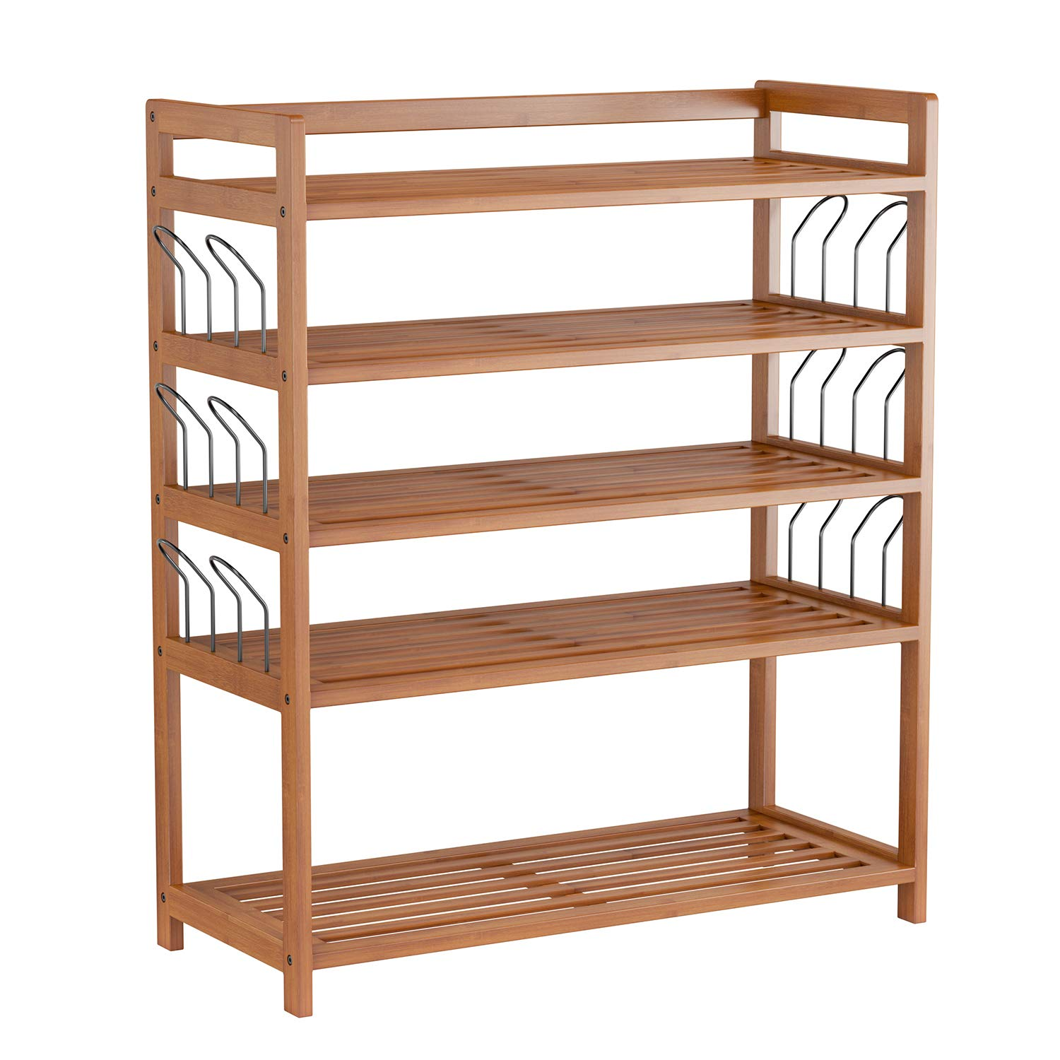 HOMFA Bamboo 5-Tier Shoe Shelf Storage Organizer Entryway Shoe rack, Home Shelf Storage Cabinet for Shoes, Books and Flowerpots, Natural