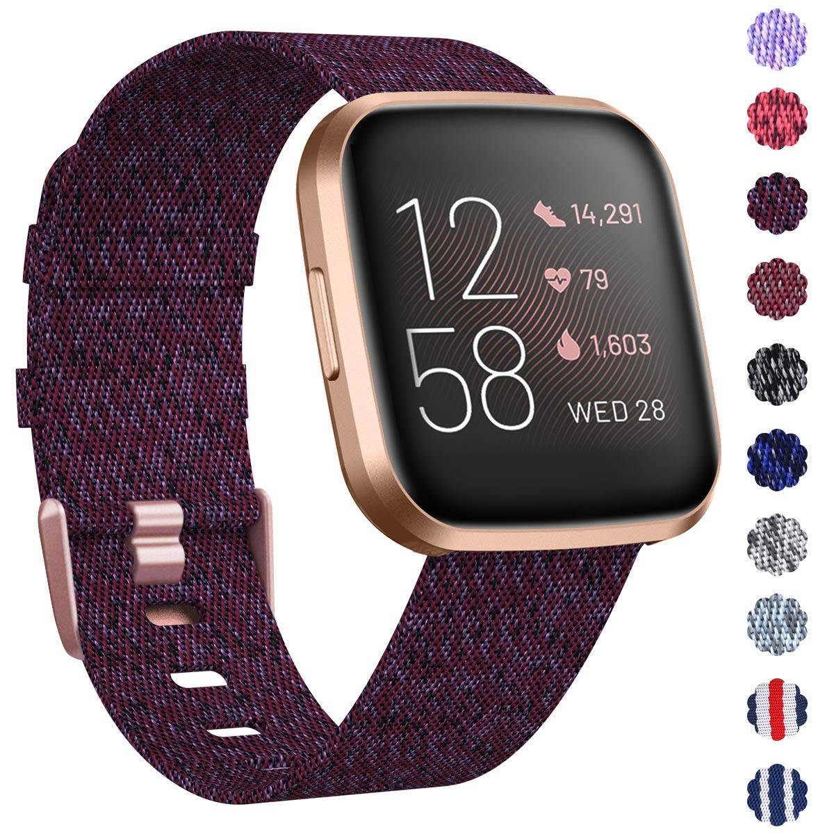 KIMILAR Woven Band Compatible with Fitbit Versa/Fitbit Versa 2/Fitbit Versa Lite Edition, Large Small Woven Fabric…
