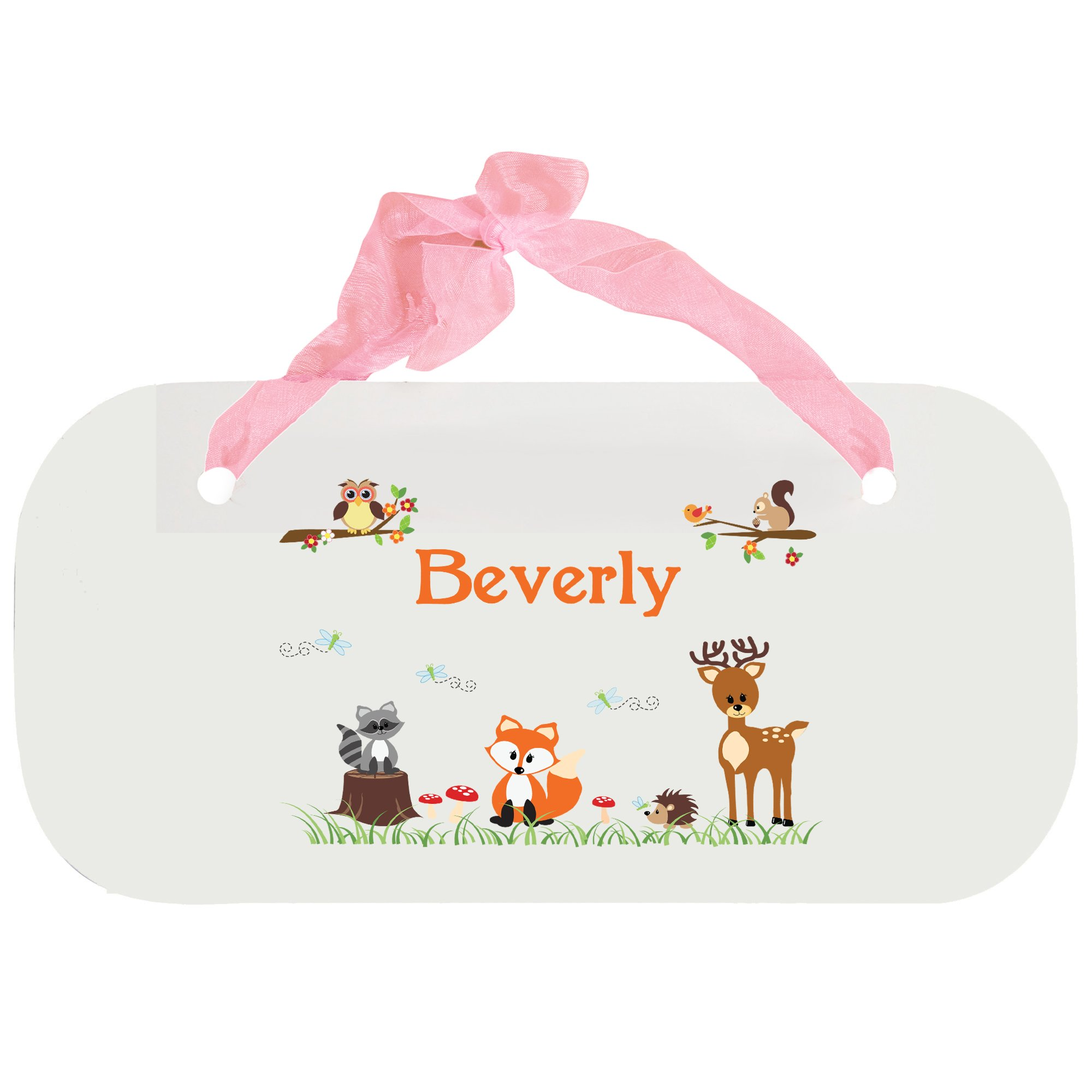 Personalizedecoral Forest Animals Nursery Door Hanger Plaque with pink ribbon