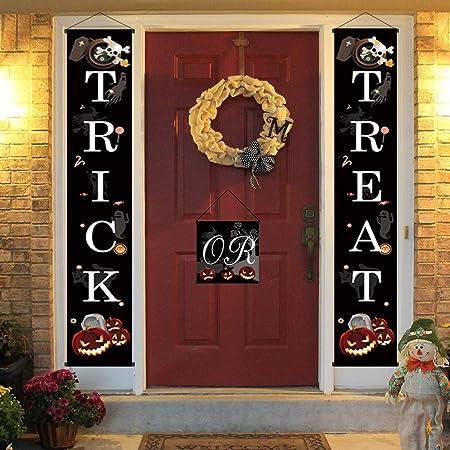 Christmas Halloween Trick Banner Hanging Flag Home Outdoor Xmas Party Door Decor