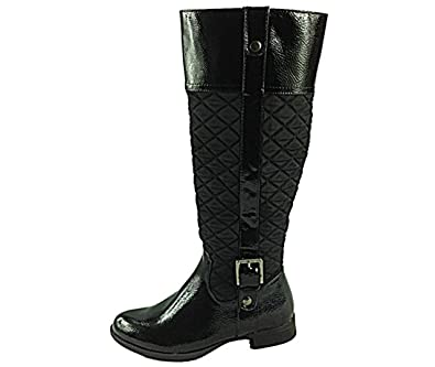 fc915629a57 Manfield Ladies FLB440 Plain Quilted Faux Leather Long Leg Buckle Flat  Riding Winter Boots Size 3-6 (UK 4  EU 37