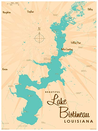 picture regarding Printable Map of Louisiana named : Lake Bistineau Louisiana Map Common-Design and style Artwork