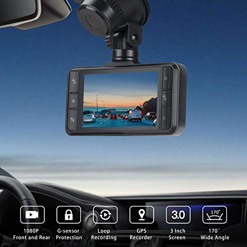 TOGUARD Both 1080P Dual Dash Cam Front and Rear Dual Lens in Car Camera 3 Inch IPS Screen 170 Wide Angle Dash Camera for Cars Driving Recorder, Support External GPS Logger