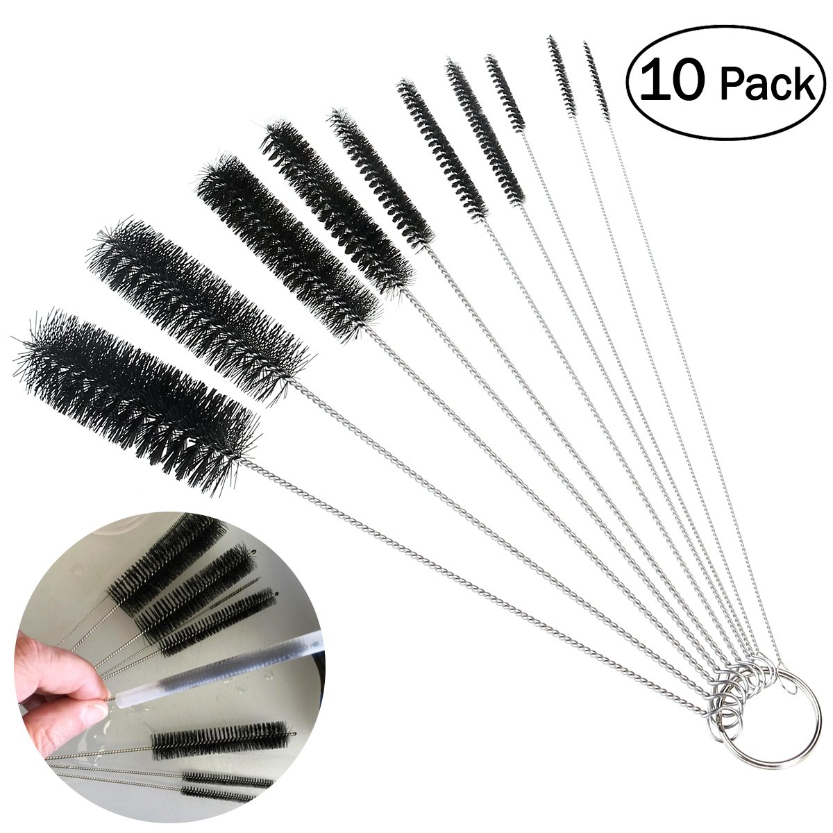 OUNONA 10 Pcs Nylon Tube Brushes Straw Set for Drinking Straws / Glasses / Keyboards / Jewelry Cleaning