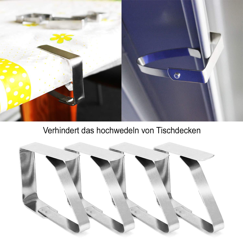 08 pezzi porta tovaglia COM-FOUR/® Clip per tovaglie 8x in acciaio inossidabile peso per tovaglia