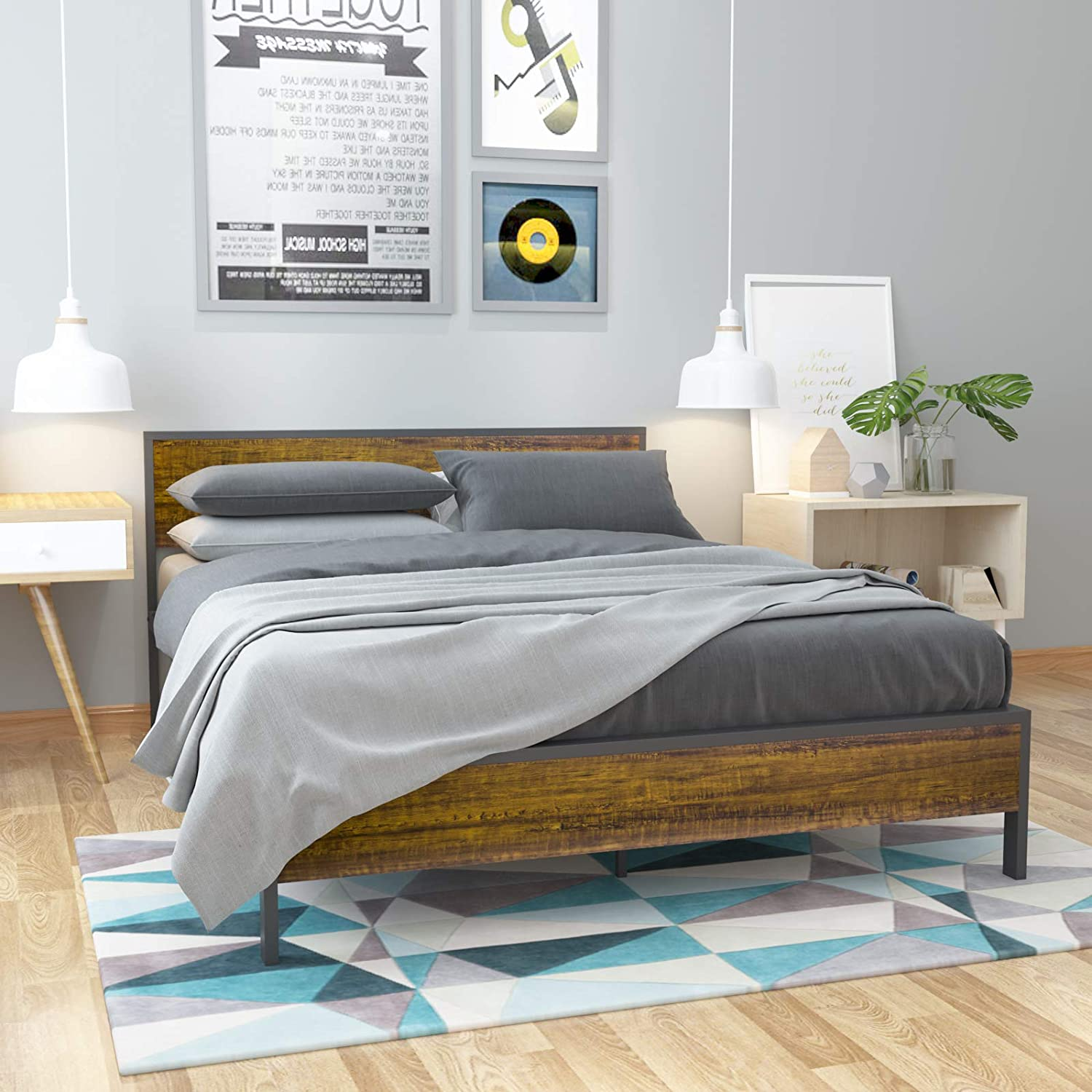 """Black Queen Bed Frame Metal Platform Bed with Headboard and Footboard 82/"""" x 62/"""""""