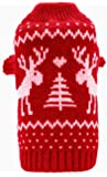 Small Dog Puppy Christmas Sweaters Cute Reindeer Navy Blue