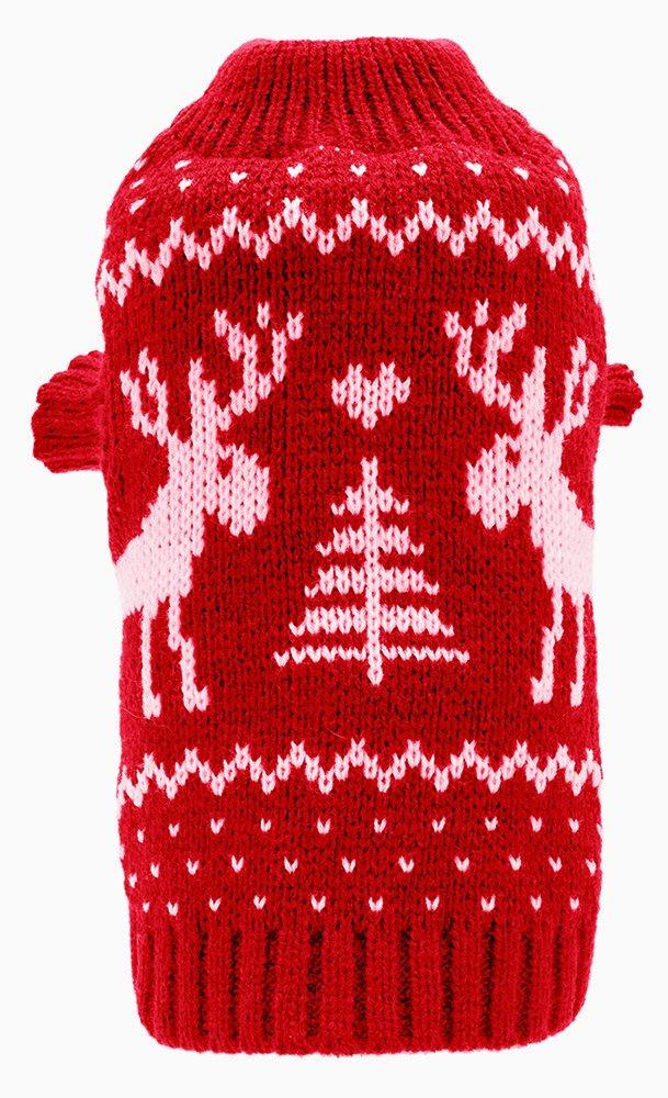 Amazon.com : Medium Dog Puppy Christmas Sweaters Cute Reindeer Red ...