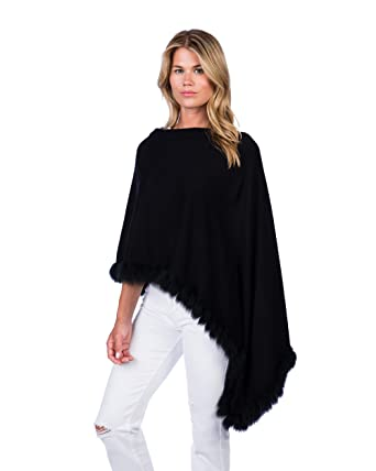 fa23d1510 Caroline Grace by Alashan Flutter Fox Fur Cashmere Blend Dress Topper Poncho  - Ebony & Black