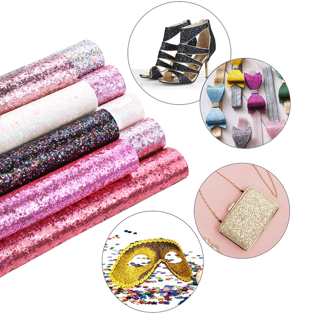 Caydo 9 Colors Accessories Super Shiny Chunky Glitter Stereoscopic Sequins Faux Leather Sheets Canvas Back for Craft DIY, Hair Clips Making, Earrings Making 12.6 x 8.6 Inch (32 x 22 cm) by Caydo (Image #5)