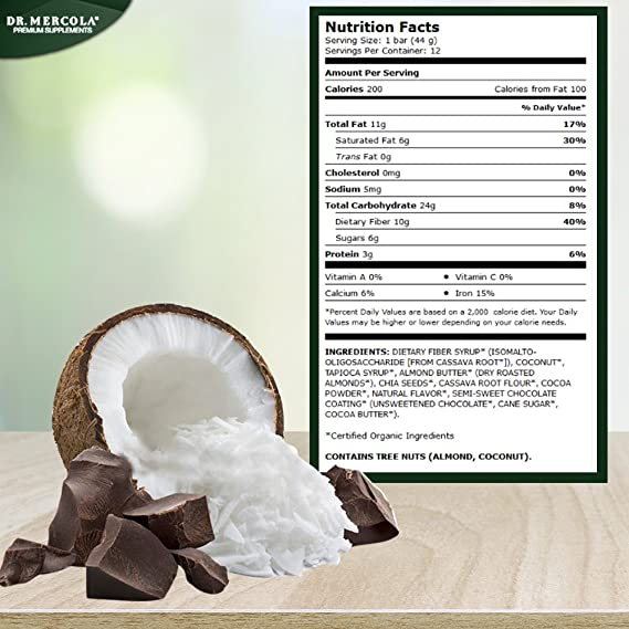 Dr. Mercola Cocoa Cassava - Chocolate And Coconut With Chia Seeds - Great Tasting Energy Bar - Certified USDA Organic - 1 Box (12 Bars) by Mercola