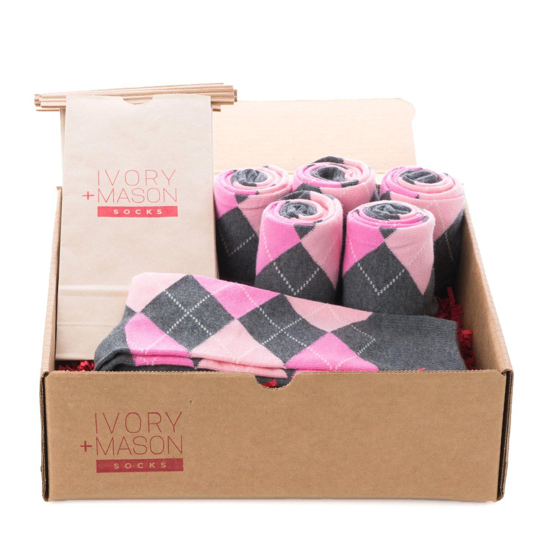 Ivory + Mason Groomsmen Socks - Personalized - Men's Argyle - Grey Hot Pink Color - Premium Cotton - Size 8-13 (6 Pairs)