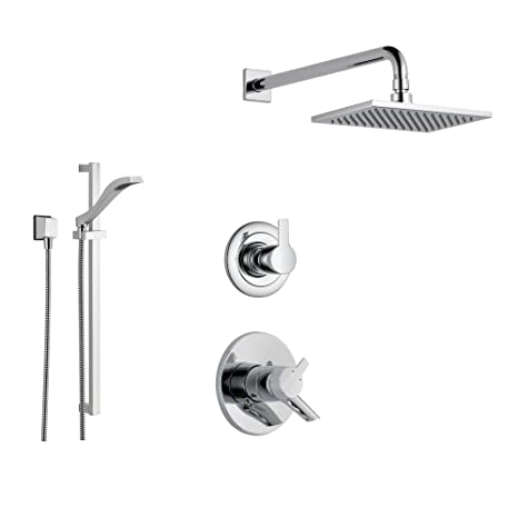 Delta Rain Shower Head With Handheld.Delta Compel Chrome Shower System With Dual Control Shower