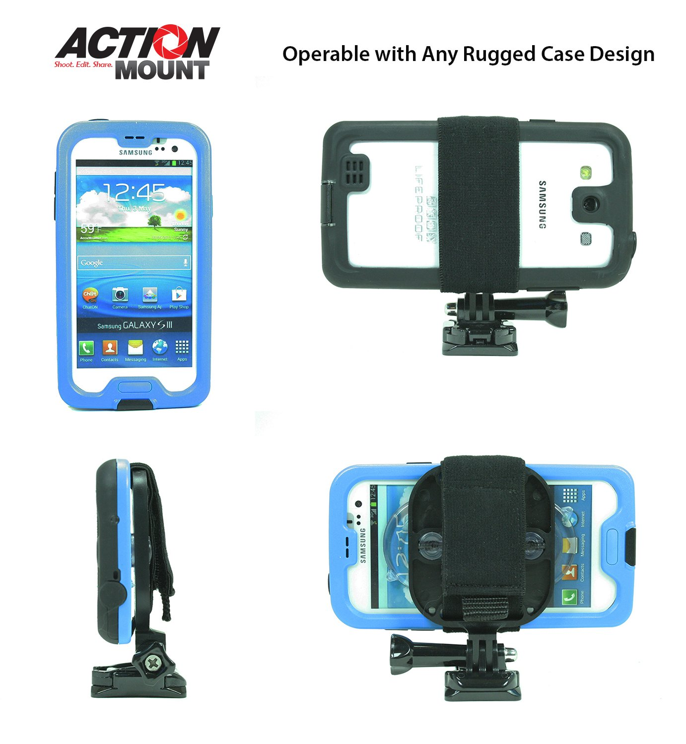 Action Mount - GoPro Style Mouth Mount with Universal Mount Adapter for Smartphone, Operable with Any Phone & GoPro. Compatible with Waterproof Cases.(with Floaty, Neck Lanyard).
