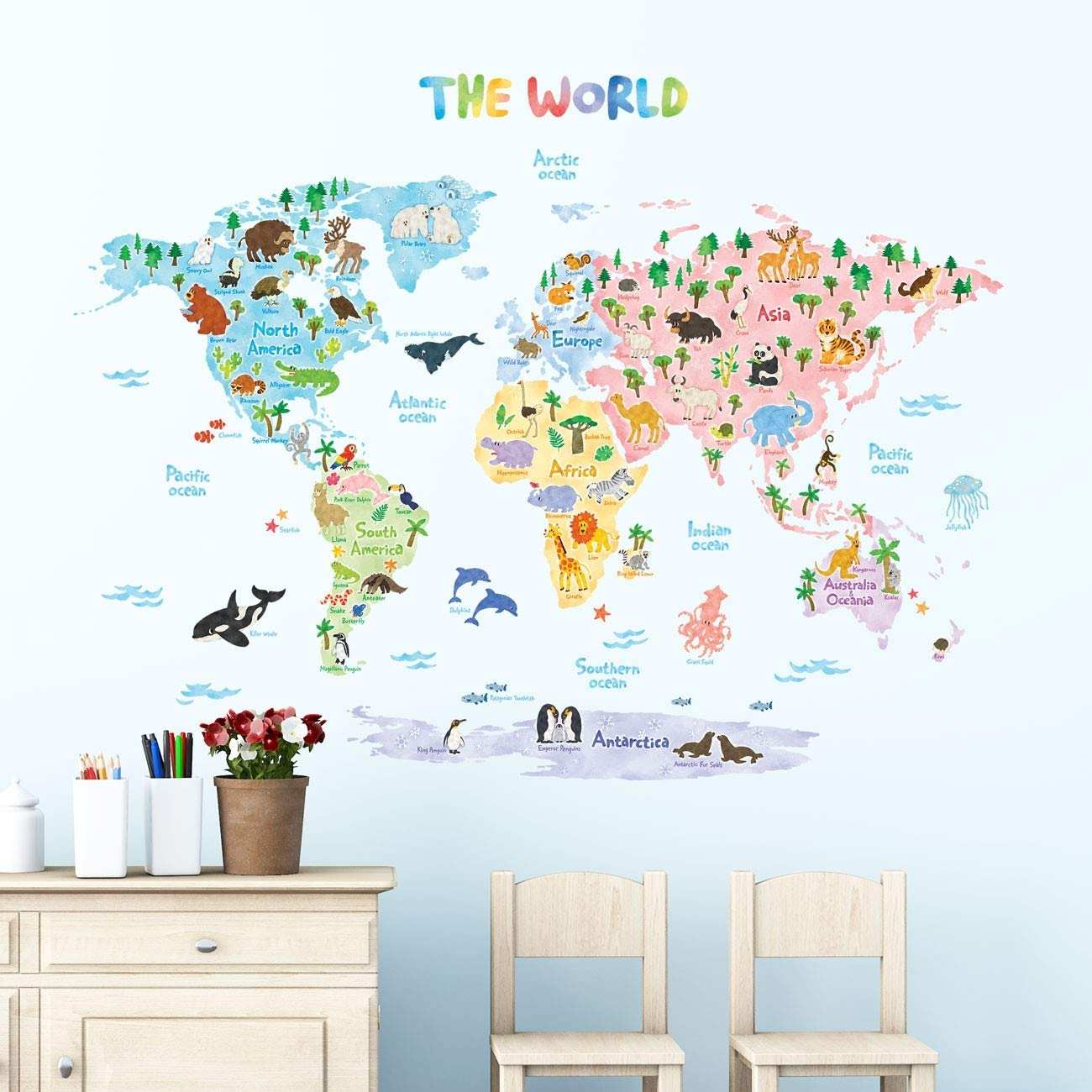 World Map Removable Wall Sticker.Amazon Com Decowall Dlt 1615 Animal World Map Kids Wall Decals Wall