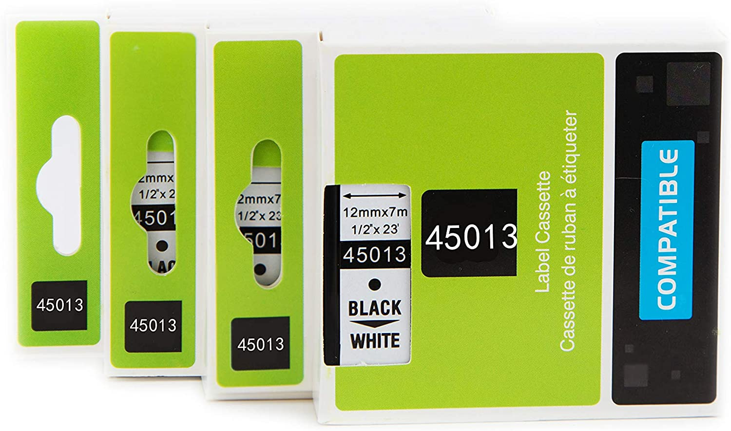 3 Pack Compatible with Dymo D1 45013 Label Tape S0720530 Cassette 12mm 7m Standard Self-Adhesive-Black on White Suitable for LabelManager 160 210D 260P 280 PnP Labelwriter Printers